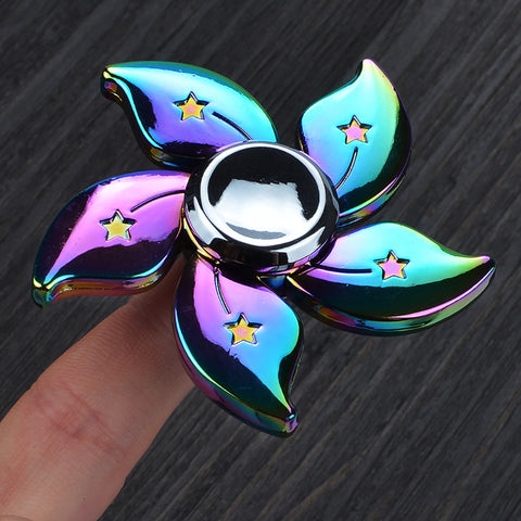 Image of Colorful Metal Luster Rainbow Bauhinia Flower Star Fidget Spinner Anti Stress Hand Finger Autism And ADHD Reduce Stress Focus Finger Toys for Children Wholesale Dealer