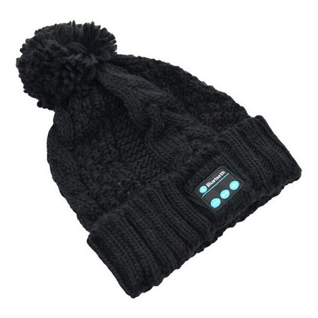 black Womens pom pom beanie hat winter cap bluetooth wireless