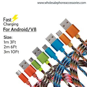 Factory China Supplier Fast Charging Camouflage Nylon Braided Rugged USB Data Cable for Android V8 Cheap Price Wholesale USA Distributor