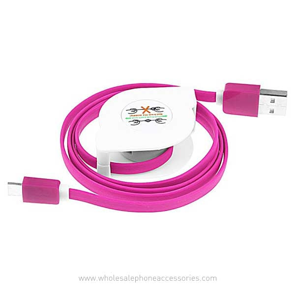 China Supplier Retractable Flat Noodle 2A Fast Charging USB Cable for iPhone Android V8 Cheap Price Wholesale USA Distributor Factory Bulk Lots  Manufacturer