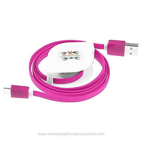Image of China Supplier Retractable Flat Noodle 2A Fast Charging USB Cable for iPhone Android V8 Cheap Price Wholesale USA Distributor Factory Bulk Lots  Manufacturer