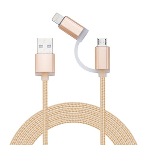 2 in 1 3ft(1M) Braided Nylon USB Cable Charger for iPhone & Android phones