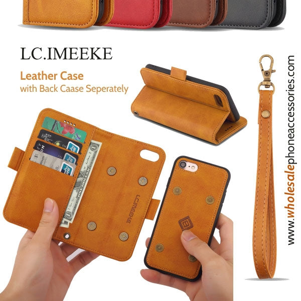 USA Distributor Factory China Supplier Cheap Price Wholesale LC.IMEEKE Leather  Case with Back Case Seperately for iPhone X 8/8PLus 7/7PLus 6/6s 6Plus/6sPlus