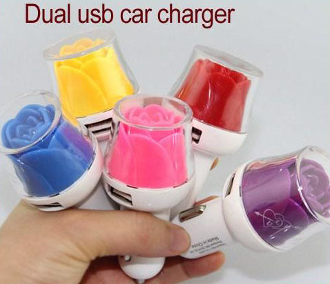 Image of fancy cute high quality car charger unique dual usb port led light