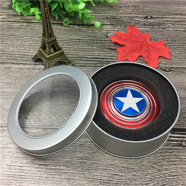 Factory Wholesale Captain America Shield Fidget Mini  spinner Metal Finger Anti-Stress Spinner