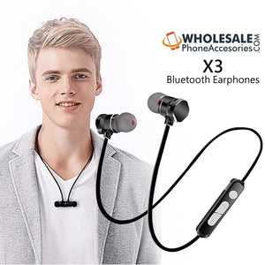 X3 Wireless Magnetic Bluetooth Earphones Sport Earbuds Running Stereo Headset with Mic