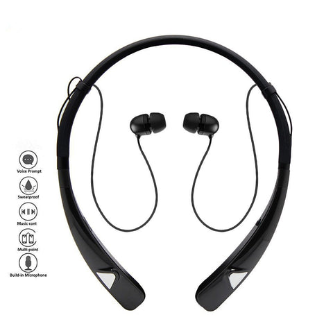 Image of Sweat proof HV-980 Bluetooth Headphones Wireless Neckband Headset HandsFree Stereo Earphones Noise Canceling with Mic for android & apple