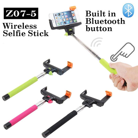 Image of Z07-5 Wholesale Wireless Bluetooth Selfie stick monopod for smartphone go pro.
