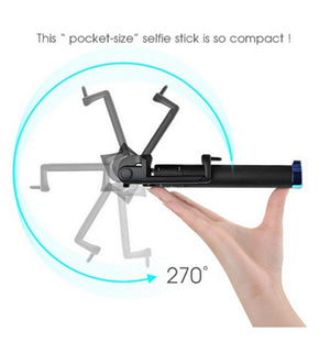Pocket-size short foldable colorful portable wired selfie stick handheld monopod