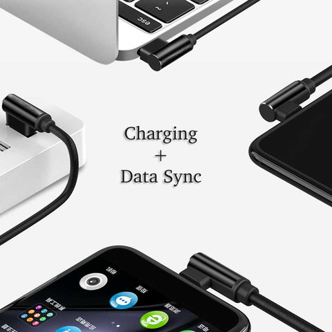 Image of 10ft 90 Degree Nylon Braided USB Cable fast Charging for iPhone iPad Android V8 Micro Type C