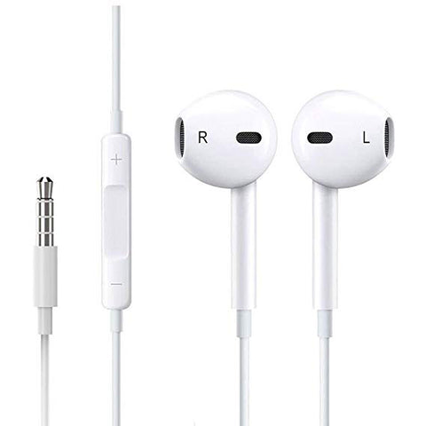 3.5mm White Earbuds for iPhone iPad Volume control & Mic