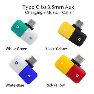 Type C to 3.5mm Aux audio music Adapter Charging + Music + Calls