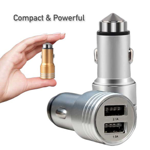 Image of Safety Hammer Dual USB port Metal Car Charger [HIGH QUALITY]