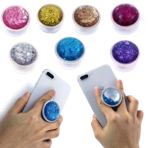 Image of Colorful Liquid Glitter Sparkling Pop up Phone grip Holder stand