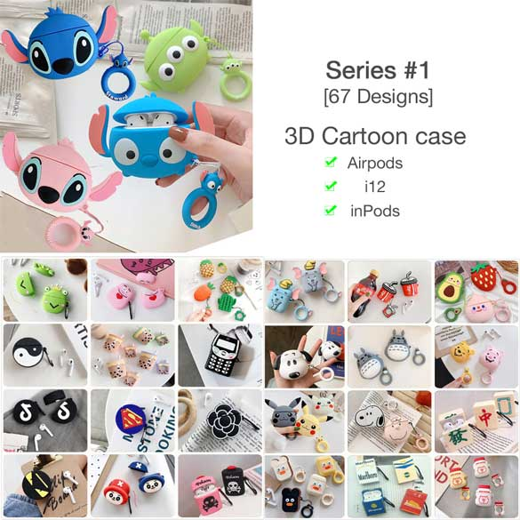 3D Cartoon Cases for AirPods i12 inPods [Series 1] [ 67 Designs]