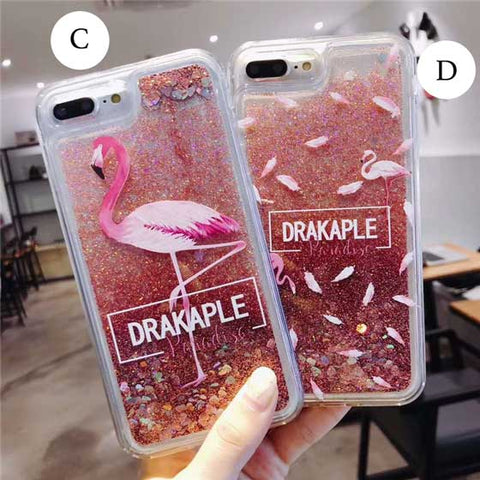 Image of Flamingo Quicksand Liquid Glitter Sparkling Fluid iPhone Case Cover[All Models]