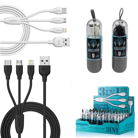 Remax Suda RC-109th 3in1 Cable micro USB / Lightning / USB-C 2.4A 3ft