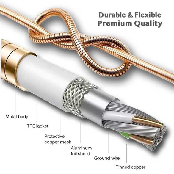 6ft Fast Charging Metal Spring Zinc Cable for iPhone Android Type C