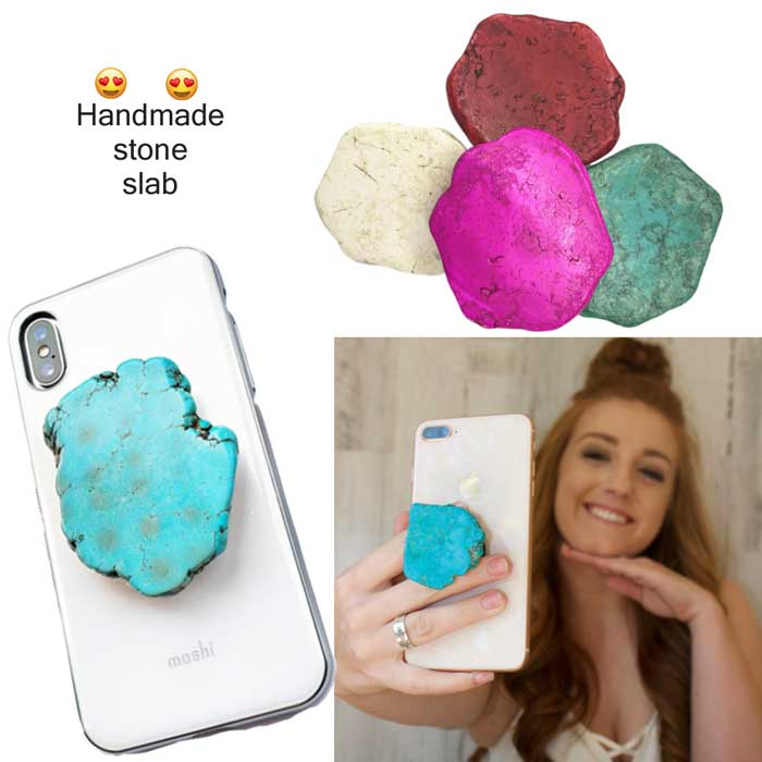 Handmade Turquoise Stone Slab phone holder grip