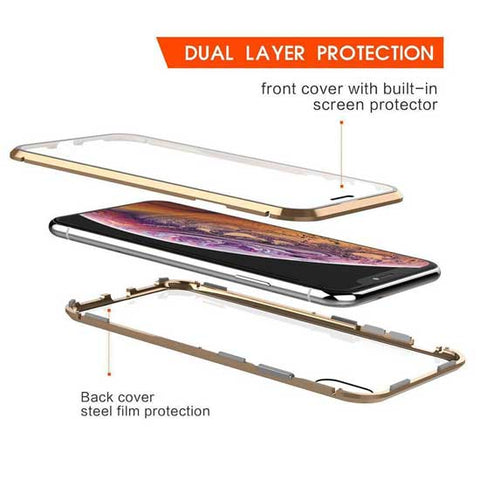 360 Protective Aluminium Bumper Magnetic Case for iPhone Samsung Glass front + back