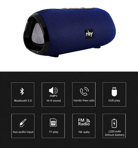 NBY 6660 Blueooth Speaker Portable Wireless With Mic 10W Column Stereo Sound Speaker