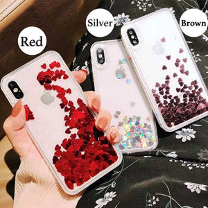 Hearts Sequins Quicksand Liquid Glitter Sparkling Fluid iPhone Case Cover[All Models]