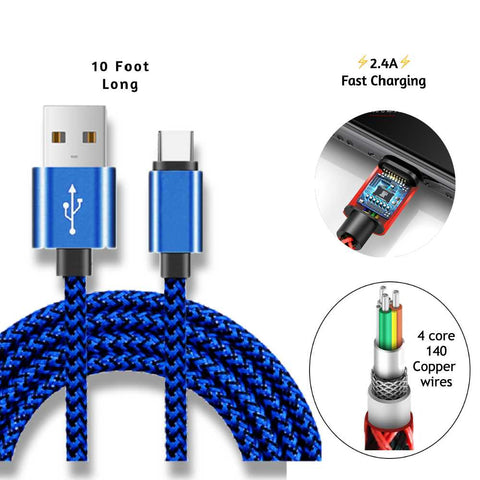 Image of 10 Foot 2.4A Fast charging Hemp braided Cable