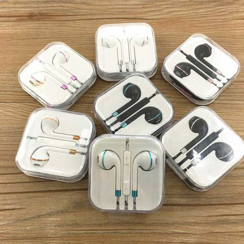 New 3.5mm iPhone Style earbuds with Mic & Volume control [Colourful Ring]