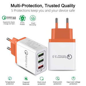 18W 4A Fast Charging QC 3 USB Multiport Wall Charger Travel Home Adapter Universal