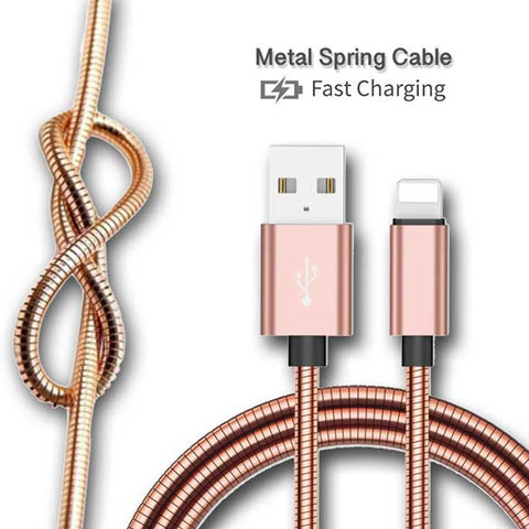 Image of 3ft 2A Fast Charging Metal Spring Zinc Cable for iPhone Android Type C