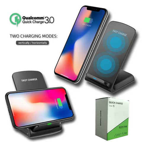 Image of 10W Qi 3.0 Fast Wireless Charger Dock Desktop Stand for iPhone Samsung