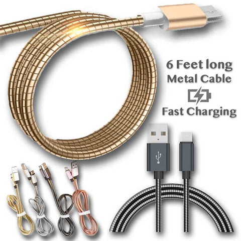 Image of 6ft Fast Charging Metal Spring Zinc Cable for iPhone Android Type C