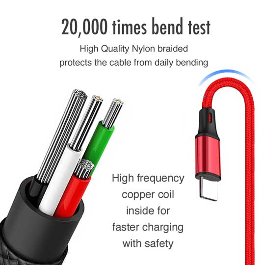 4ft 3in1 2A Fast Charging Braided Cable for iPhone V8 Android Type C