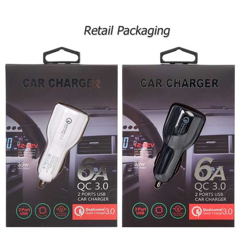 Image of QC3.0 + 3.1A Dual USB Car Charger Plug Fast Charging