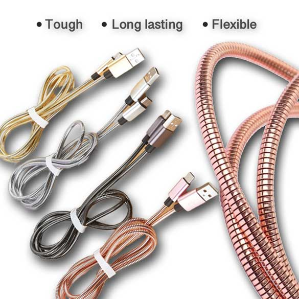 3ft 2A Fast Charging Metal Spring Zinc Cable for iPhone Android Type C