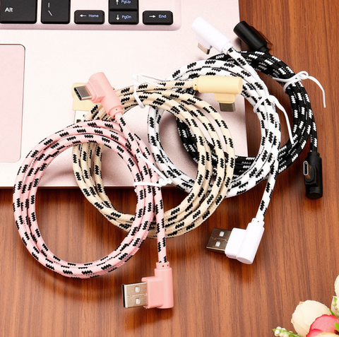 Image of 10Foot 2.4A Fast Charging 90 Degree Nylon Braided cable