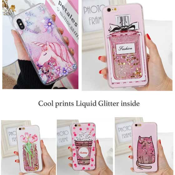 Printed Quicksand Liquid Glitter Sparkling Fluid iPhone Case Cover[All Models]