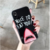 Cute Shark Glass back Phone case