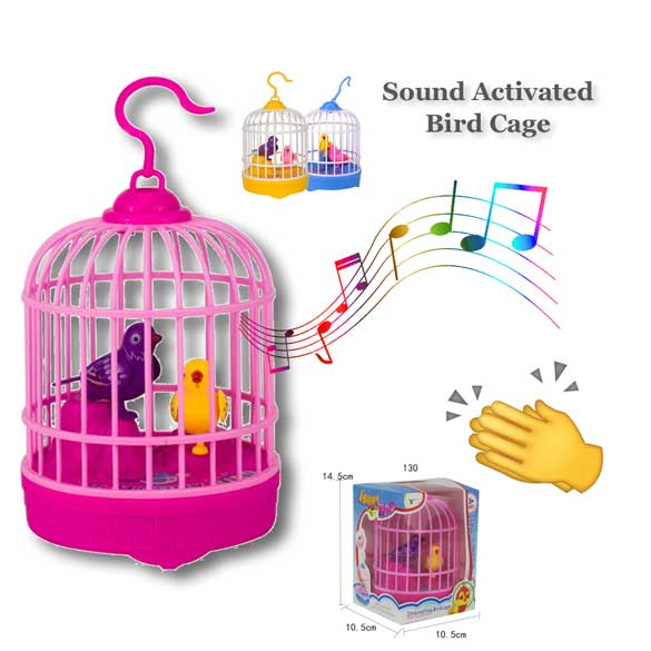 Robotic Bird Cage Sound Activated Novelty Gift Toy
