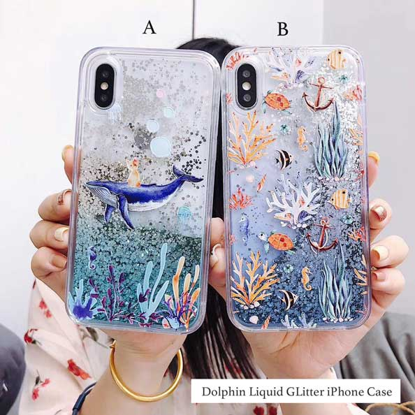 Dolphin Sea Quicksand Liquid Glitter Sparkling Fluid iPhone Case Cover[All Models]