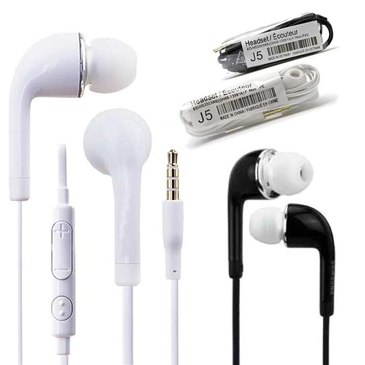 J5 Universal S4 Wired earbuds for Samsung HTC with Volume control & Mic