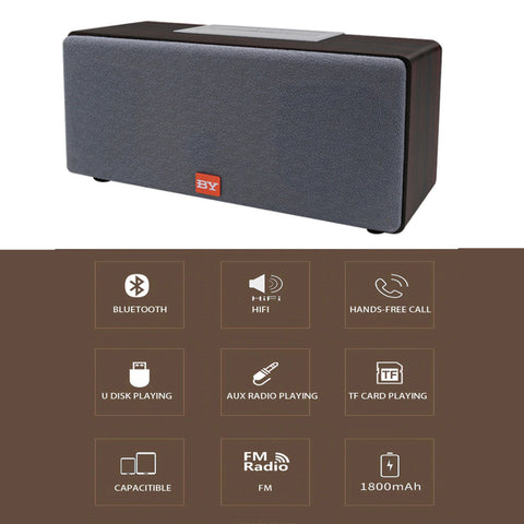 Image of By3070 20W Tws Subwoofer Wooden Stereo Powered Bass Bluetooth Speaker