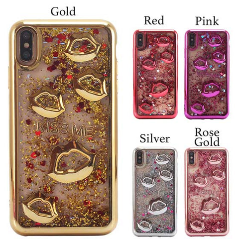Kisses Quicksand Liquid Glitter Sparkling iPhone Case Cover[All Models]