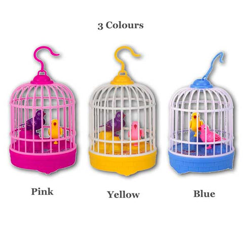 Image of Robotic Bird Cage Sound Activated Novelty Gift Toy