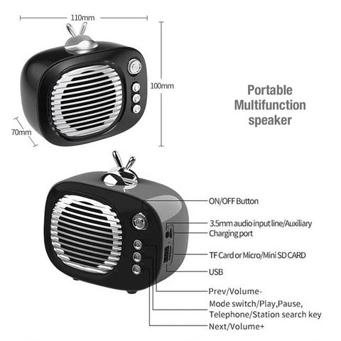 Image of NBY 2270 Portable Mini Bluetooth Retro Wireless Speaker