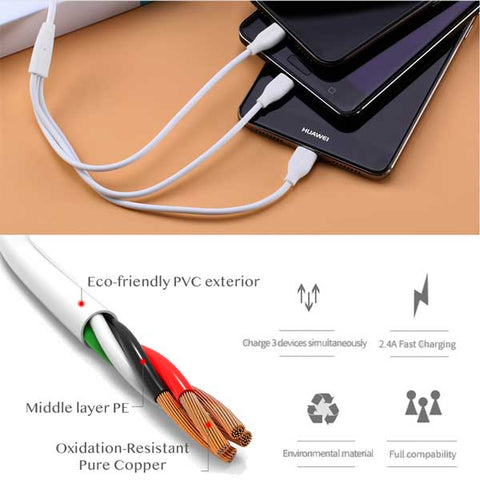 Image of Remax Suda RC-109th 3in1 Cable micro USB / Lightning / USB-C 2.4A 3ft