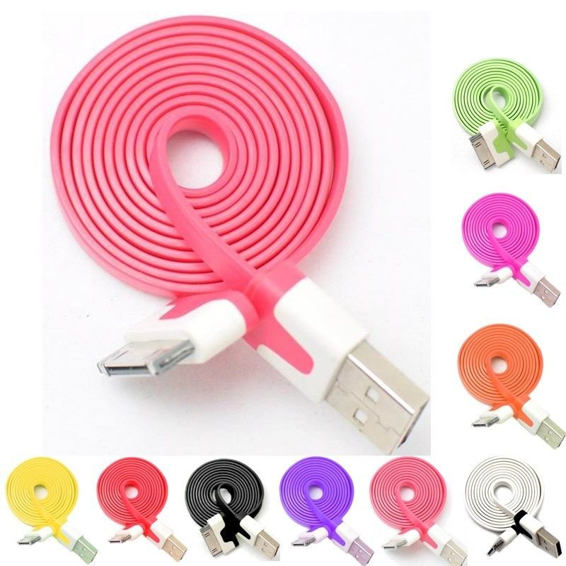 Flat Noodle USB Cable Charger for iPhone Android V8 Micro