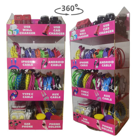 Image of Retail store counter top display case for cell phone accessories chargers for convenient stores gas stations