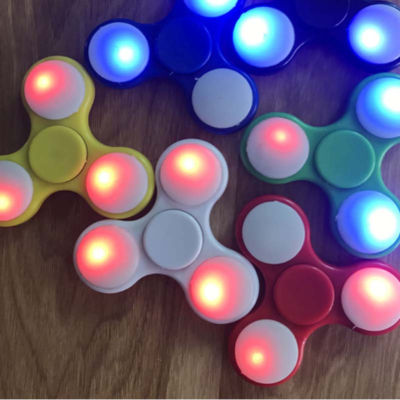 China LED Light Hand Finger Spinner Plastic For Autism and ADHD Relief Focus Anxiety Stress Gift Toys S2 Bulk Mass