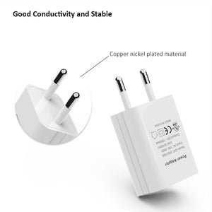 UL Certified Universal EU USB Wall Charger Travel Adapter 5v 1A (1000mA) Portable High Speed Plug for iPhone Samsung HTC LG